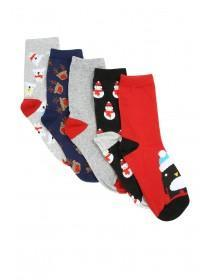 Boys 5pk Black Christmas Socks