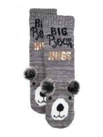 Womens 1pk Brown Bear Slipper Socks