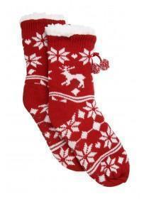 Womens Red Fairisle Slipper Socks
