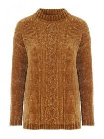 Womens Mustard Cable Knit Chenille Jumper
