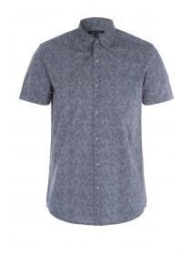 Mens Grey Floral Short Sleeve Shirt