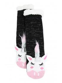 Womens 1pk Black Unicorn Slipper Socks