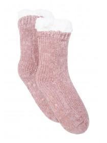 Womens Pink Chenille Slipper Socks