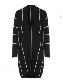 Womens Monochrome Stripe Long Line Cardigan