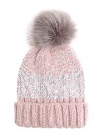 Womens Pink Fairisle Beanie Hat