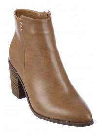 Womens Tan Block Heel Ankle Boots
