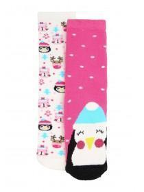 Girls 2pk Pink Penguin Slipper Socks