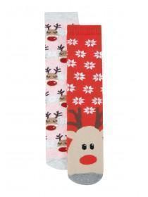 Girls 2pk Reindeer Slipper Socks