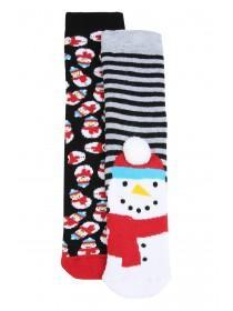 Boys 2pk Snowman Slipper Socks