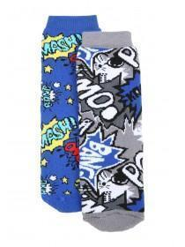 Boys 2pk Blue Comic Slipper Socks