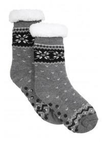 Boys Grey Fairisle Slipper Socks