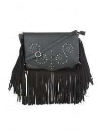 Womens Black Fringe Stud Across Body Bag