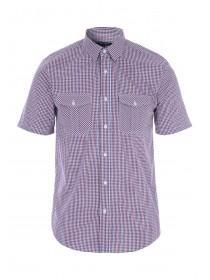 Mens Red Check Short Sleeve Shirt