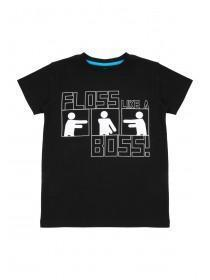 Older Boys Black Floss Slogan T-Shirt