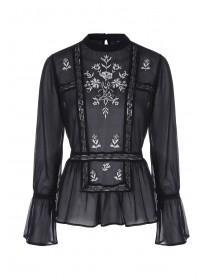 Womens Black Embroidered Victorian Blouse