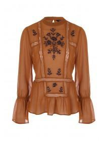 Tan Embroidered Victorian Blouse