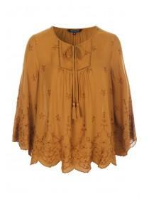 Womens Mustard Embroidered Smock Top