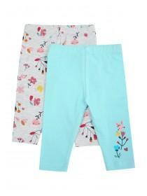 Baby Girls 2pk Blue Floral Leggings