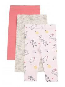 Baby Girls 3pk Pink Leggings