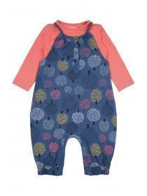 Baby Girls Blue Dungaree and T-Shirt Set