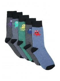 Mens 5pk Black Monster Design Socks