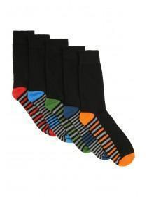 Mens 5pk Black Striped Socks