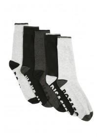 Mens 5pk Black Slogan Bottom Socks