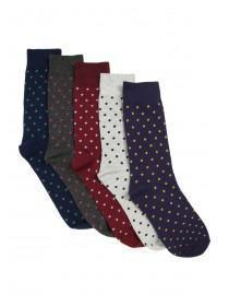 Mens 5pk Spot Design Socks