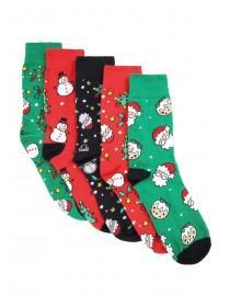 Mens 5pk Green Christmas Socks