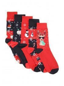 Mens 5pk Red Christmas Socks