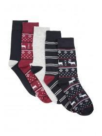 Mens 5pk Burgundy Fairisle Socks