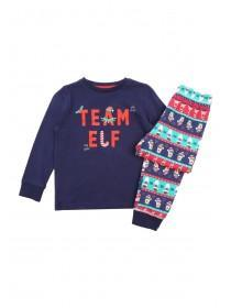 Kids Navy Team Elf Slogan Pyjama Set