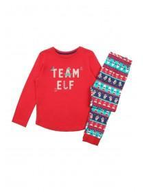 Kids Red Team Elf Slogan Pyjama Set