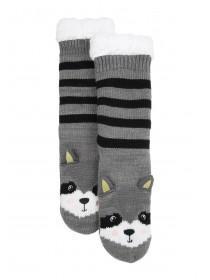 Womens 1pk Grey Racoon Slipper Socks