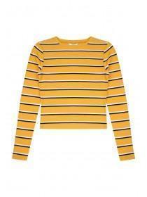 Older Girls Mustard Stripe Rib Top
