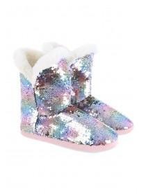 Womens Multicolour Flip Sequin Slipper Boots