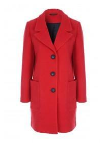 Womens Red Textured Long Line Coat