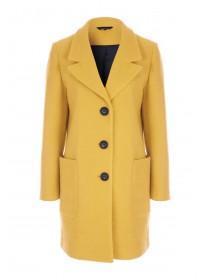 Womens Yellow Textured Long Line Coat
