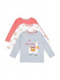 Younger Girls 3pk Llama T-Shirts