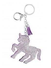 Purple Diamante Glitter Unicorn Keyring