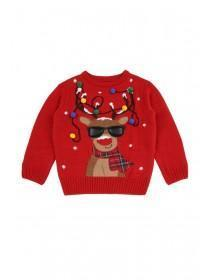 Younger Boys Red Reindeer Christmas Jumper