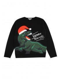 Older Boys Black T-Rex Christmas Jumper