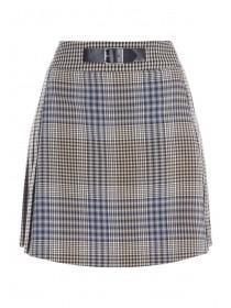 Womens Brown Check Kilt Skirt