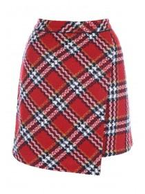 Womens Red Tartan Wrap Skirt