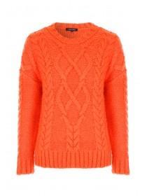 Womens Orange Cable Knit Jumper