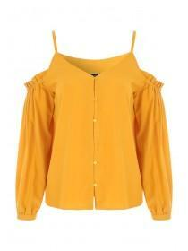 Womens Mustard Yellow Cold Shoulder Blouse