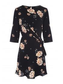 Womens Black Floral Twist Detail Dress