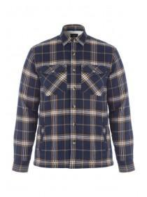 Mens Navy Check Shirt Jacket