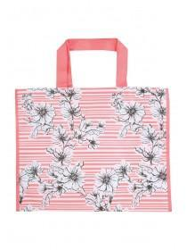 Womens Coral Floral Stripe Shopper Bag