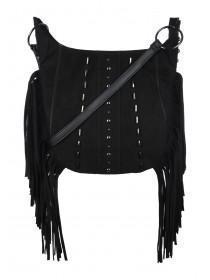 Womens Black Fringe Across Body Bag